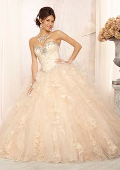 QUINCEANERA VIZCAYA Crystal Beaded Bodice on Lace and Tulle with a Ruffled Ball Gown Skirt
