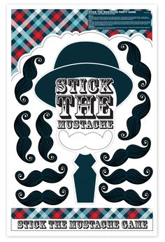 Little Man Mustache Stick the Mustache Party Game