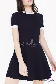 Round Neck Short Sleeve Plain A-Line Mini Dress - Beautifulhalo.com