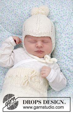 Winter Baby / DROPS Baby 33-12 - Ilmaiset neuleohje DROPS Designilta Baby Knitting Patterns, Baby Cardigan Knitting Pattern Free, Baby Hat Patterns, Baby Hats Knitting, Knitted Baby Blankets, Crochet Baby Hats, Knitting For Kids, Knitted Hats, Free Knitting
