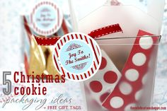 5 ways to package Christmas cookies + FREE printable gift tags you can personalize before you print from thecelebrationshoppe.com and @Snackpicks ~ Enjoy! #creativegiftwrap #cookieexchangeparty
