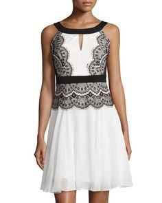 Lace Pleated Sleeveless Dress, Ivory/Black by JAX at Neiman Marcus Last Call.