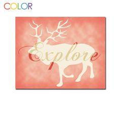 Printable Art Explore Woodland Animlal on pink by ColorPrintables, $5.00
