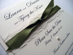 Sage Green and Lace styled Save the Dates