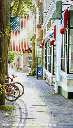 Old Towne ~ USA by Mary Irwin Watercolor ~ 15 x 27