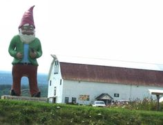 Meet Chomsky, the world's largest garden gnome at Kelder's Farm in Kerhonkson, N.Y. The gnome is more than 13 feet tall and sits on a Hudson River Valley farm that also includes a unique mini-golf course landscaped entirely with fruit, veggies, herbs and grains. (Ulster County Tourism)