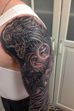 Warrior Fantasy Dragon Tattoo On Man Left Sleeve