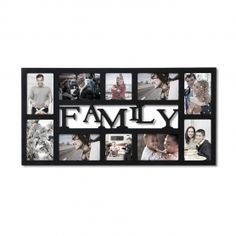 "Adeco Decorative Black Wood ""Family"" Wall Hanging Collage Picture Photo Frame, 10 Openings, 4x6"", 4x4"""
