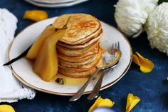 I like my pancakes fluffy, stacked high and drenched in syrup. If they just so happen to come with a side of spiced pears, I wouldn't turn my nose up. Aquafaba, or chickpea brine is the magical egg...
