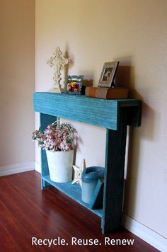 Wood Blue Console Table. Entry Table. Comes in Different