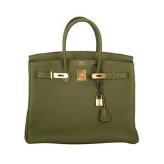 "Moss green birkin. Such a great color. as seen in 'In Style"" magazine Feb 2013  HERMES BIRKIN BAG 35CM VERT VERONESE GOLD HW"
