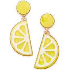 Celebrate Shop Fruit Earrings found on Polyvore featuring jewelry, earrings, accessories, lemon slice, plastic jewelry, dangle earrings, plastic earrings, earring jewelry and pineapple jewelry