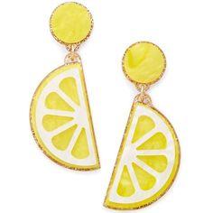Celebrate Shop Fruit Earrings ($12) ❤ liked on Polyvore featuring jewelry, earrings, lemon slice, plastic earrings, dangling jewelry, earring jewelry, dangle earrings and plastic jewelry