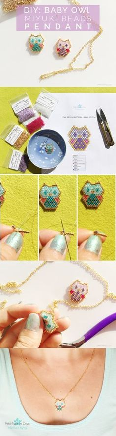 Make these adorable baby owl pendants with miyuki delica beads following this step by step tutorial with free pattern.