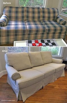 Ticking stripe slipcover makeover for an outdated plaid sleeper sofa. Fabric: Catalina in color Black Pearl
