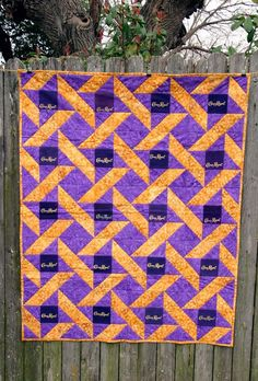Handmade Purple and Gold Crown Royal Quilt