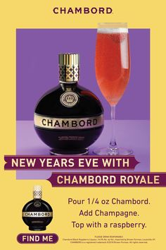 Toast this New Year's Eve with a twist on champagne HOW TO MAKE A CHAMBORD ROYALE ¼ oz Chambord Liqueur Champagne Raspberry Pour Chambord into a flute glass. Top with champagne. Then plop. Finish with a raspberry. Dessert Drinks, Bar Drinks, Cocktail Drinks, Alcoholic Drinks, Beverages, Desserts, Christmas Cocktails, Holiday Cocktails, Fancy Drinks