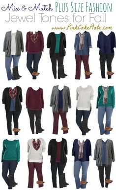 Mix & Match Plus Size - Jewel Tones Kohl's (Mix Colors Capsule Wardrobe) Plus Size Fashion For Women, Plus Size Womens Clothing, Plus Size Outfits, Clothes For Women, Plus Size Winter Outfits, Ladies Clothes, Trendy Clothing, Women's Clothes, Summer Clothes