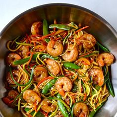 Asian Zucchini Noodle Stir-Fry With Shrimp. 15 Must-Try Low-Carb Zoodle Recipes. Delicious, easy and healthy meal with Zoodles/Zucchini Noodles as the main attraction. Wok Recipes, Zoodle Recipes, Spiralizer Recipes, Stir Fry Recipes, Seafood Recipes, Cooking Recipes, Healthy Recipes, Recipes Dinner, Healthy Rice