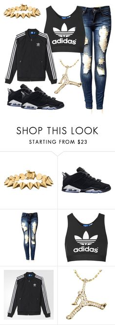 """made by @swaggishboo 💙💎"" by beautyniya1 ❤ liked on Polyvore featuring Eddie Borgo, Retrò, Topshop and adidas"