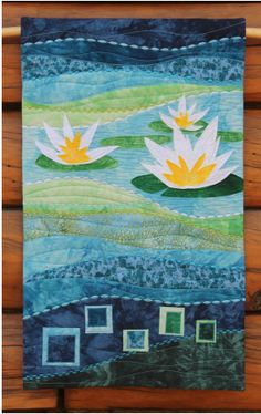 Water lilies wall hanging quilt