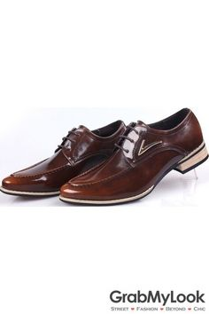 GrabMyLook Brown Vintage Leather Lace Up Wood Sole Mens Oxford Shoes Sneakers