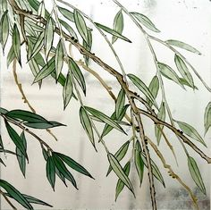 Verre Eglomise Sample: Bamboo Tree. Reverse painting & silver leaf gilding on glass by Timna Woollard Studio