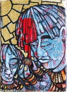 The characters were seen in the paint marks on my canvas, outlined and enhanced with gold leaf. My Canvas, Mixed Media Canvas, Figurative, Outline, South Africa, Spiderman, Fine Art, Contemporary, Superhero