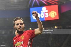 Manchester United's Spanish midfielder Juan Mata celebrates after scoring their third goal during the English Premier League football match between Leicester City and Manchester United at King Power Stadium in Leicester, central England on February 5, 2017. / AFP / Ben STANSALL / RESTRICTED TO EDITORIAL USE. No use with unauthorized audio, video, data, fixture lists, club/league logos or 'live' services. Online in-match use limited to 75 images, no video emulation. No use in betting, games…