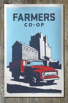 Retro Americana Old Chevy Farm Truck and Grain Elevator Farm Life 12 1/2 x 19 Scene Screenprint Poster