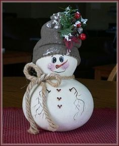 gourd snowman | Gourd snowman | Fall/Winter Decorating | Pinterest