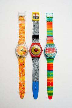 We couldn't get enough of these cool, printed watches in the '80s. Did anyone else think it was absolutely vital to protect theirs with a Swatch Guard?