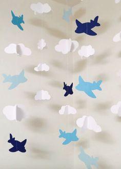 Decor quartinho de bebê aviões mobile em papel
