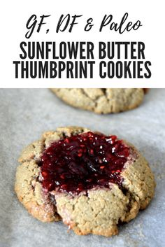 These nut-free gluten free, dairy free, Paleo Sunflower Butter Thumbprint Cookies are extremely easy to make and require only sunflower butter, eggs, coconut flour and jam and take about 20 minutes to make from start to finish.  They are crunchy on the outside and taste deliciously nutty thanks to the sunflower butter.