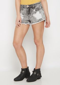 image of Washed Black Destroyed High Waist Shortie in Curvy