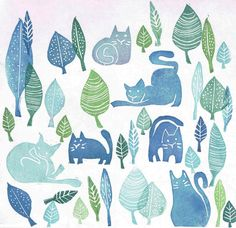 Gatos y Rinocerontes (rubber stamps) lots of ideas. Stamp Printing, Printing On Fabric, Screen Printing, Stencil Painting, Fabric Painting, Homemade Stamps, Eraser Stamp, Stamp Carving, Fabric Stamping