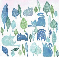 Sellos carvados y estampación manual Diseño de Lucía Sainz http://gatosyrinocerontes.blogspot.com.es/