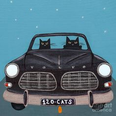Original Painting - Black 120 Cats by Ryan Conners