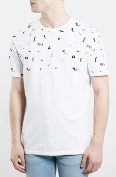 Men's Topman Yoke Print Crewneck T-Shirt
