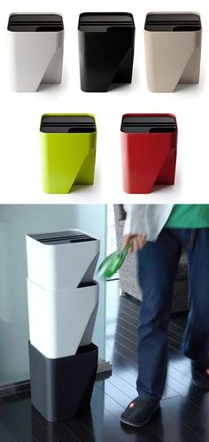 Qualy Block trashbin --- Elegant solution! I especially like the ring that keeps the bag in place on the inside. Make everything look tidy.