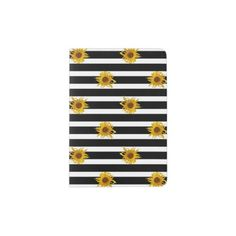 Sunflowers on Black and White Stripes Passport Holder - stripes gifts cyo unique style