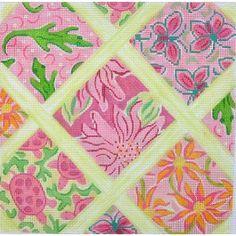 Lilly Lattice Patchwork Medium Square -Pinks