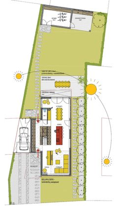 Tuinaanleg 1522OEYE stam.be House Layout Plans, New House Plans, House Layouts, Home Design Plans, Plan Design, Residential Architecture, Architecture Design, Narrow House, Village Houses