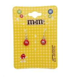 M&M 's Red Hanging Earrings (Official Licensed Product) Fashion Jewelry