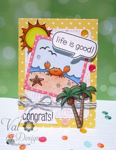 Copic card using a variety of Lawn Fawn stamp sets and die sets. Made by Valerie