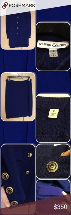 St. John Couture Royal Blue Knit Skirt Suit Size 8 St. John Couture blazer/jacket with gold and silver tone buttons and matching St. John Basics Skirt St. John Skirts Skirt Sets