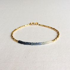 Ombre Sapphire Bracelet is made of gold silver plated beads and natural Sapphire beads. Diy Jewelry, Beaded Jewelry, Jewelery, Silver Jewelry, Jewelry Accessories, Handmade Jewelry, Fashion Jewelry, Swarovski Jewelry, Jewelry Making