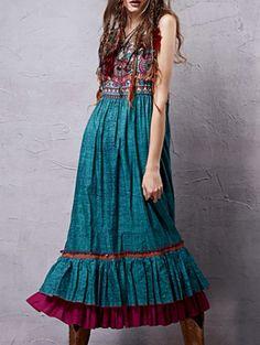 V Neck Sleeveless Retro Printed Flounce Ruffles Dress #womensfashion #pinterestfashion #buy #fun#fashion