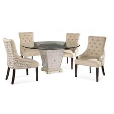 Featuring a glass-topped pedestal table and 4 tufted side chairs with script upholstery, this charming dining set brims with Provencal appeal. Dining Room Sets, Kitchen Dining Sets, 5 Piece Dining Set, Modern Dining Table, Round Dining Table, Round Tables, Small Dining, Kitchen Decor, Cottage Furniture