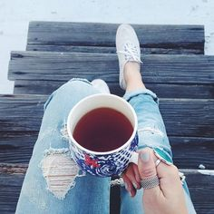 For Instagram or Selfie Inspiration IDEA with: | Cute Mug with Tea + Jeans + Pair of Tennis Shoes + Fab Rings and a Sweet Mani. |||  Coffeenclothes Instagram - Best Fashion Instragrams